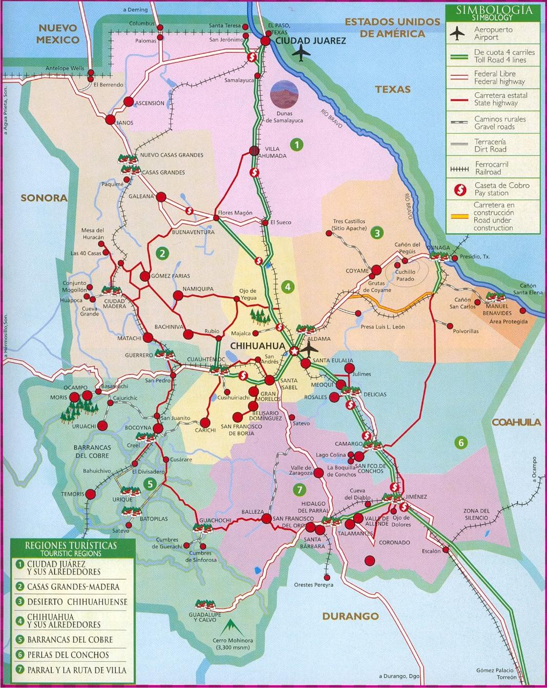 mapa de regiones turisticas en chihuahua