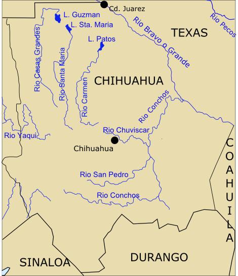 mapa de rios en chihuahua