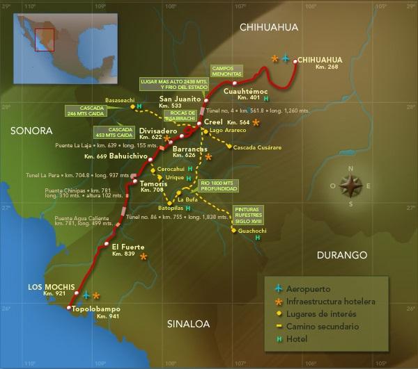 mapa de la ruta del chepe